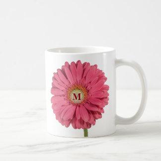 Pink Gerbera Daisy Monogram Mug