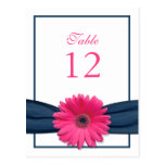 Pink Gerbera Daisy Navy Ribbon Table Number Card Postcard