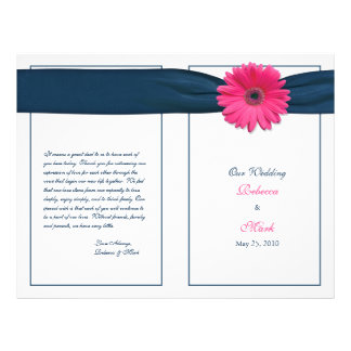 Pink Gerbera Daisy Navy Ribbon Wedding Program 21.5 Cm X 28 Cm Flyer