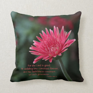 Pink Gerbera Daisy on Green w/ Scripture Verse Cushion