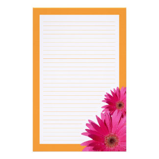 Pink Gerbera Daisy Orange Border Stationery