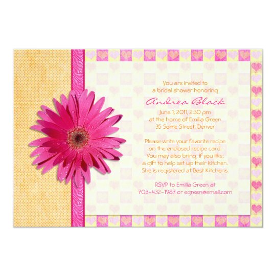 Pink Gerbera Daisy Orange Bridal Shower Invitation