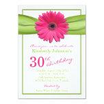 Pink Gerbera Daisy Orange Ribbon 30th Birthday 11 Cm X 16 Cm Invitation Card