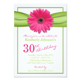 Pink Gerbera Daisy Orange Ribbon 30th Birthday Card