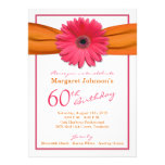 Pink Gerbera Daisy Orange Ribbon 60th Birthday