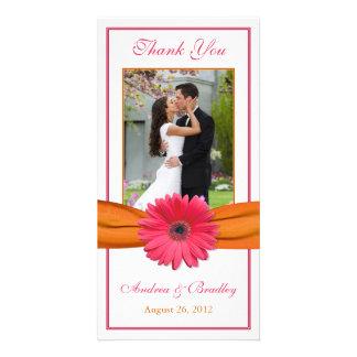 Pink Gerbera Daisy Orange Ribbon Wedding Thank You Card