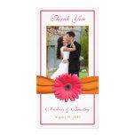 Pink Gerbera Daisy Orange Ribbon Wedding Thank You Photo Card Template