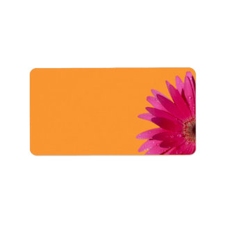 Pink Gerbera Daisy Orange Wedding Blank Address Address Label