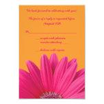 Pink Gerbera Daisy Orange Wedding RSVP Card 9 Cm X 13 Cm Invitation Card