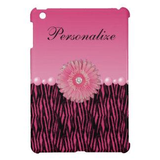 Pink Gerbera Daisy & Pearls Zebra Stripes iPad Mini Cover