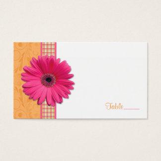 Pink Gerbera Daisy Plaid Ribbon Wedding Place Card
