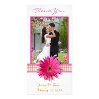 Pink Gerbera Daisy Plaid Ribbon Wedding Thank You Photo Greeting Card