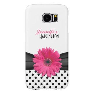 Pink Gerbera Daisy Polka Dot Samsung Galaxy S6 Cases