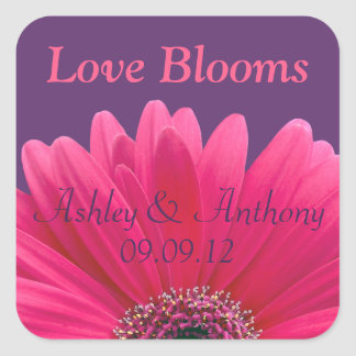 Pink Gerbera Daisy Purple Wedding Sticker