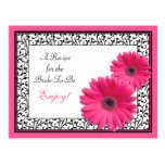 Pink Gerbera Daisy Recipe Card for the Bride to Be