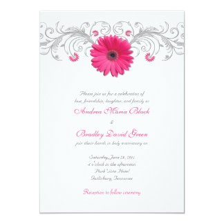 Pink Gerbera Daisy Silver Floral Wedding Card