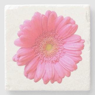 Pink gerbera daisy stone beverage coaster