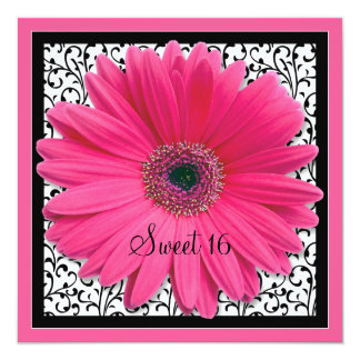 Pink Gerbera Daisy Sweet 16 Birthday Invitation