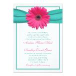 Pink Gerbera Daisy Turquoise Ribbon Wedding 13 Cm X 18 Cm Invitation Card