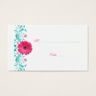 Pink Gerbera Daisy Turquoise Wedding Place Card