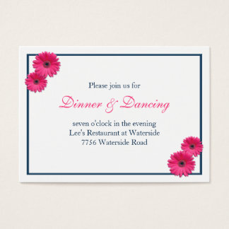 Pink Gerbera Daisy Wedding Reception Card