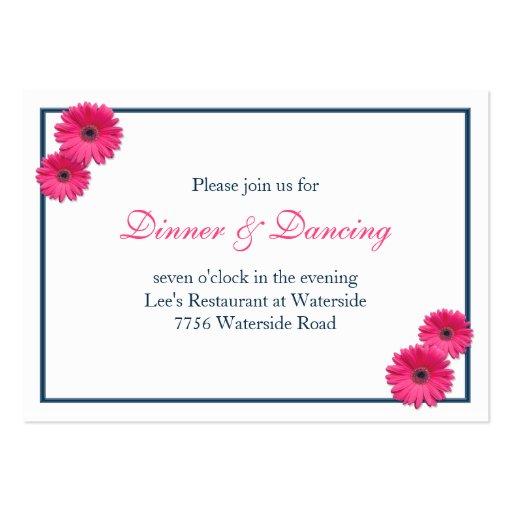Pink Gerbera Daisy Wedding Reception Card Business Card Template