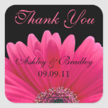 Pink Gerbera Daisy Wedding Thank You Sticker