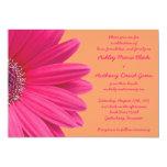 Pink Gerbera Daisy with Orange Wedding Invitation 13 Cm X 18 Cm Invitation Card