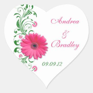 Pink Gerbera Green Floral Wedding Envelope Seal Heart Sticker