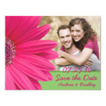 Pink Gerbera Green Photo Save the Date Card 11 Cm X 14 Cm Invitation Card