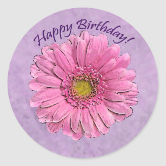 Pink Gerbera Happy Birthday sticker