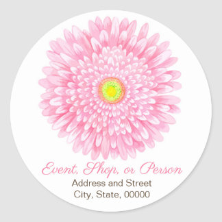 Pink Gerbera Large Round Address Seal