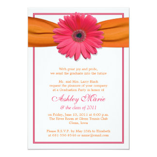 Pink Gerbera Orange Ribbon Graduation Invitation