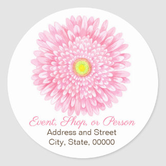 Pink Gerbera Round Address Seal