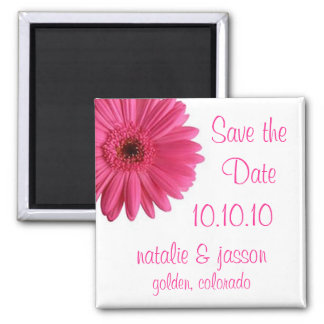 Pink Gerbera Save the Date Magnet