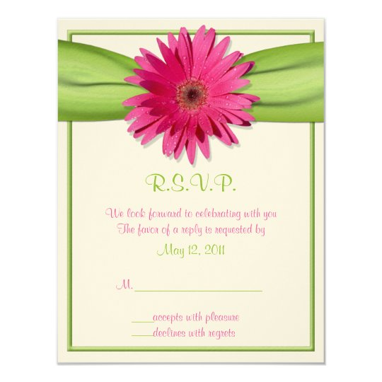 Pink Gerbera with Green Ribbon Response Card 11 Cm X 14 Cm Invitation Card