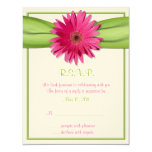 Pink Gerbera with Green Ribbon Response Card 11cm X 14cm Invitation Card