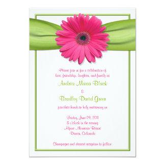 "Pink Gerbera with Green Ribbon Wedding Invitation 5"" X 7"" Invitation Card"