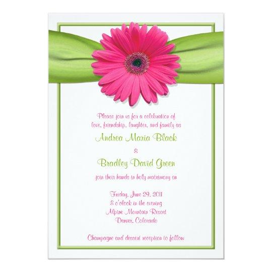 Gerbera Wedding Invitations: Pink Gerbera With Green Ribbon Wedding Invitation