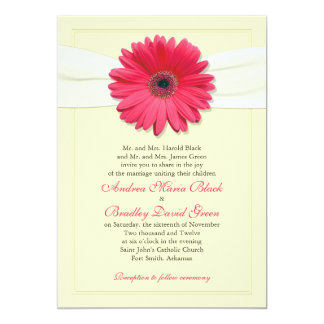 Pink Gerbera with Ivory Ribbon Invitation