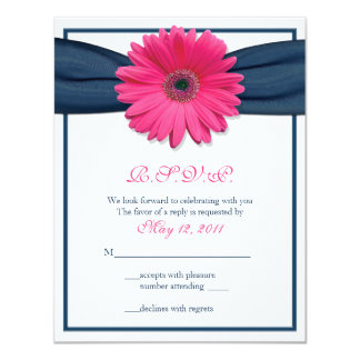 Pink Gerbera with Navy Ribbon Response Card
