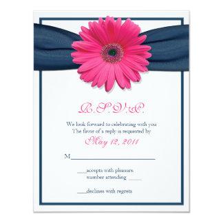 Pink Gerbera with Navy Ribbon Response Card 11 Cm X 14 Cm Invitation Card