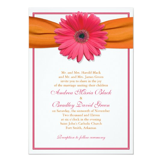 Pink Gerbera with Orange Ribbon Wedding Invitation