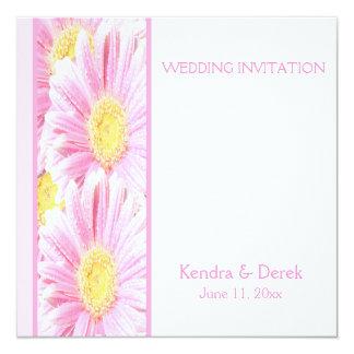 "Pink Gerberas on White Wedding Invitation (Square) 5.25"" Square Invitation Card"