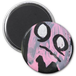 Pink ghost 6 cm round magnet