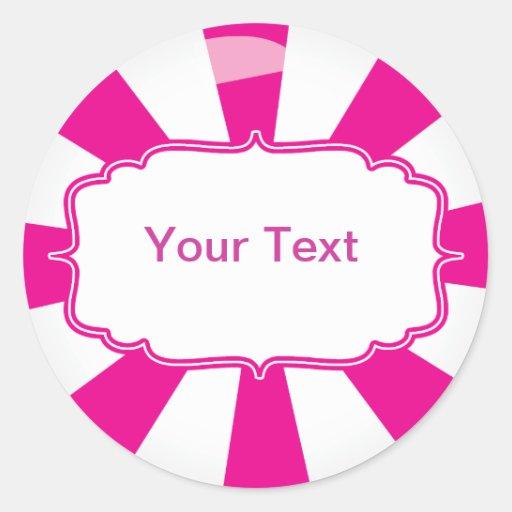 Pink Giant lollipop candy Buffet label Round Sticker