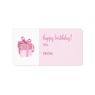 Pink Gift Birthday Gift Tag Label Address Label