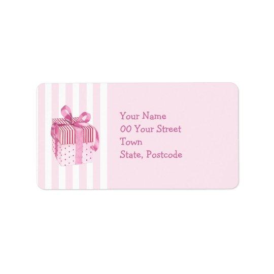 Pink Gift stripes Address Label