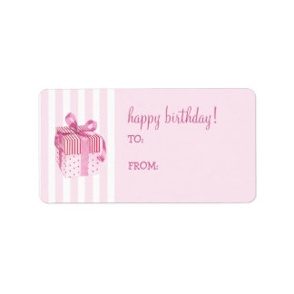 Pink Gift stripes Birthday Gift Tag Label Address Label