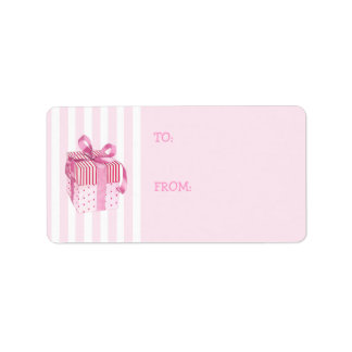 Pink Gift stripes Gift Tag Label Address Label